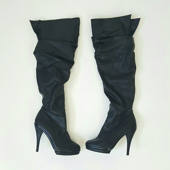 34551127ee6 Charlotte Russe Shoes - Black faux leather over the knee boots 7.5 8 vegan